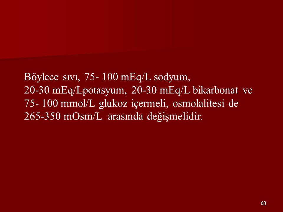 Böylece sıvı, 75- 100 mEq/L sodyum,
