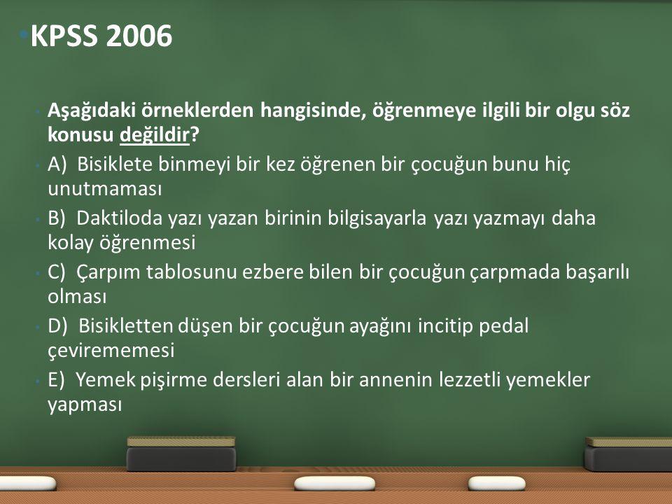 KPSS 2006 Aşağıdaki örneklerden hangisinde, öğrenmeye ilgili bir olgu söz konusu değildir