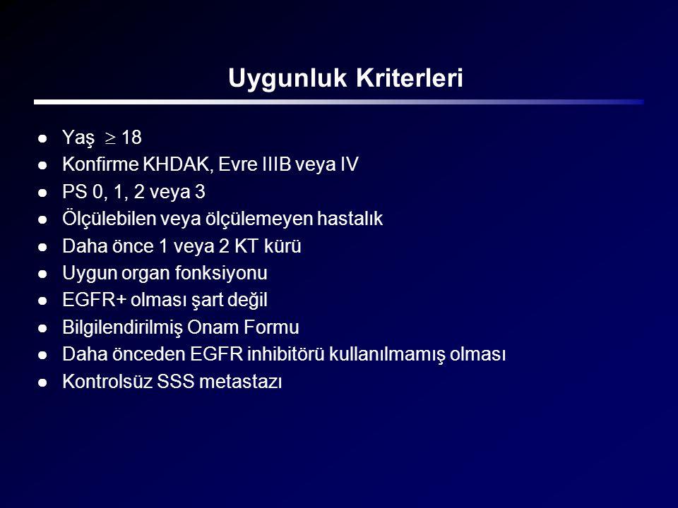 Uygunluk Kriterleri Yaş  18 Konfirme KHDAK, Evre IIIB veya IV