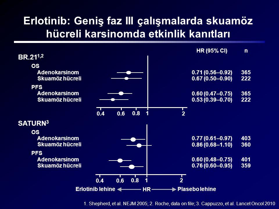 Erlotinib: Geniş faz III çalışmalarda skuamöz hücreli karsinomda etkinlik kanıtları