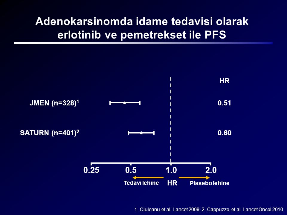 Adenokarsinomda idame tedavisi olarak erlotinib ve pemetrekset ile PFS
