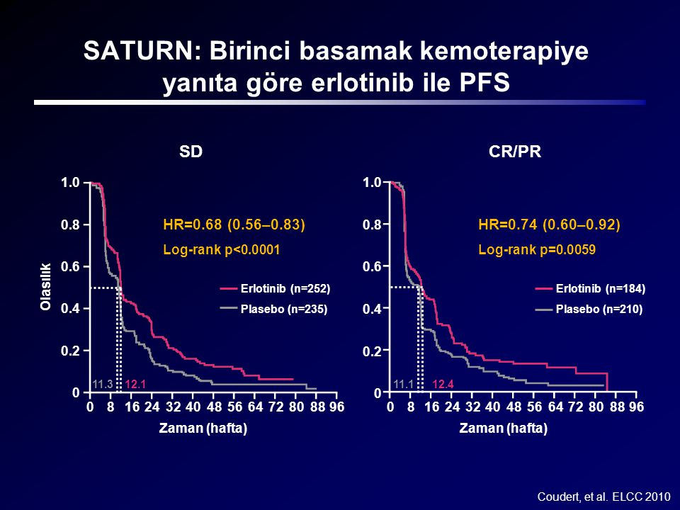 SATURN: Birinci basamak kemoterapiye yanıta göre erlotinib ile PFS