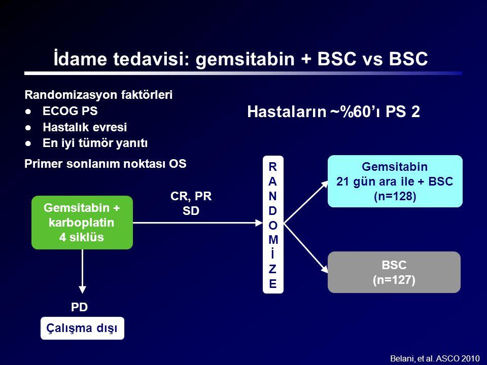 İdame tedavisi: gemsitabin + BSC vs BSC