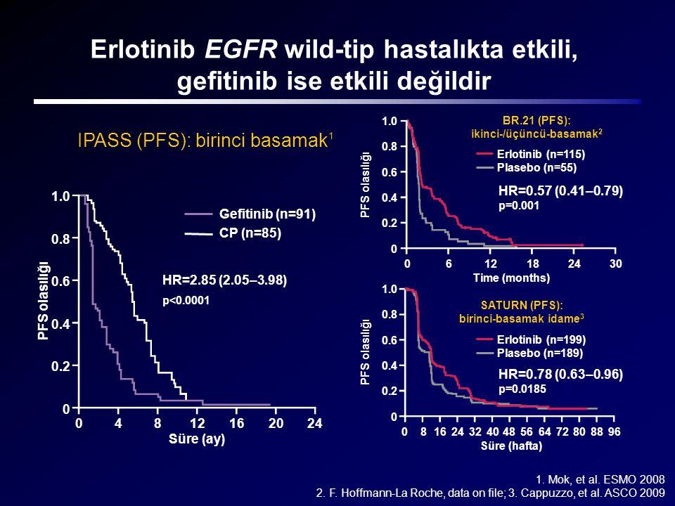 Erlotinib EGFR wild-tip hastalıkta etkili, gefitinib ise etkili değildir