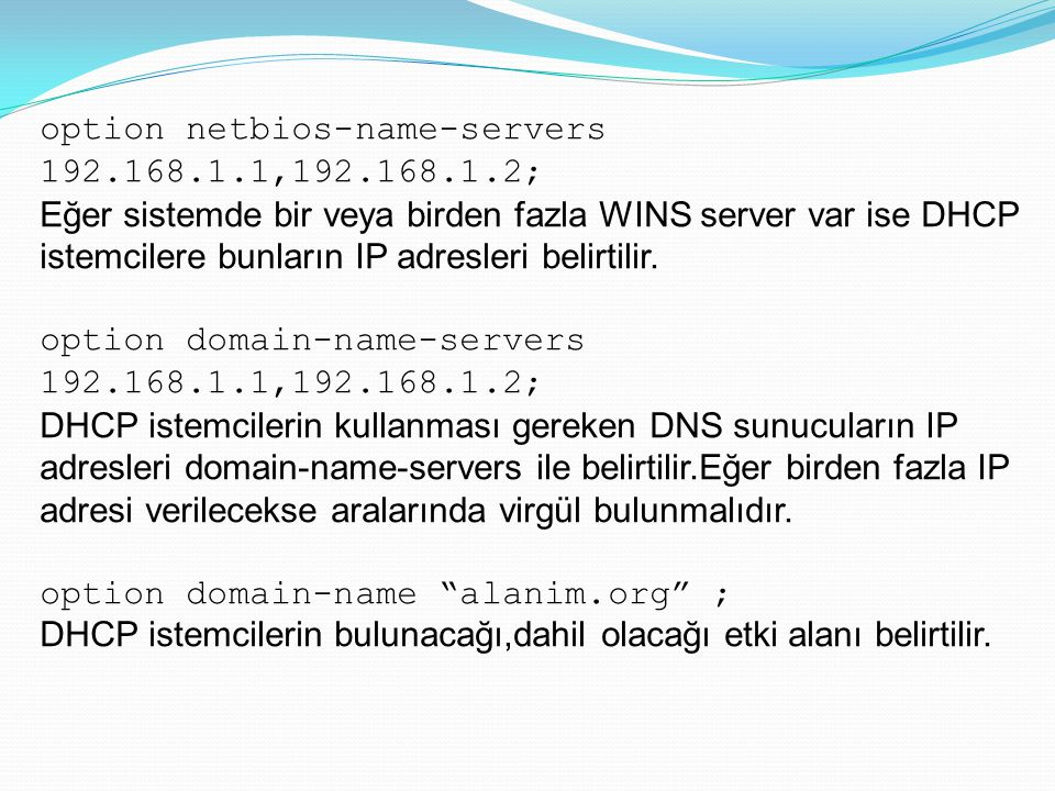 option netbios-name-servers 192.168.1.1,192.168.1.2;