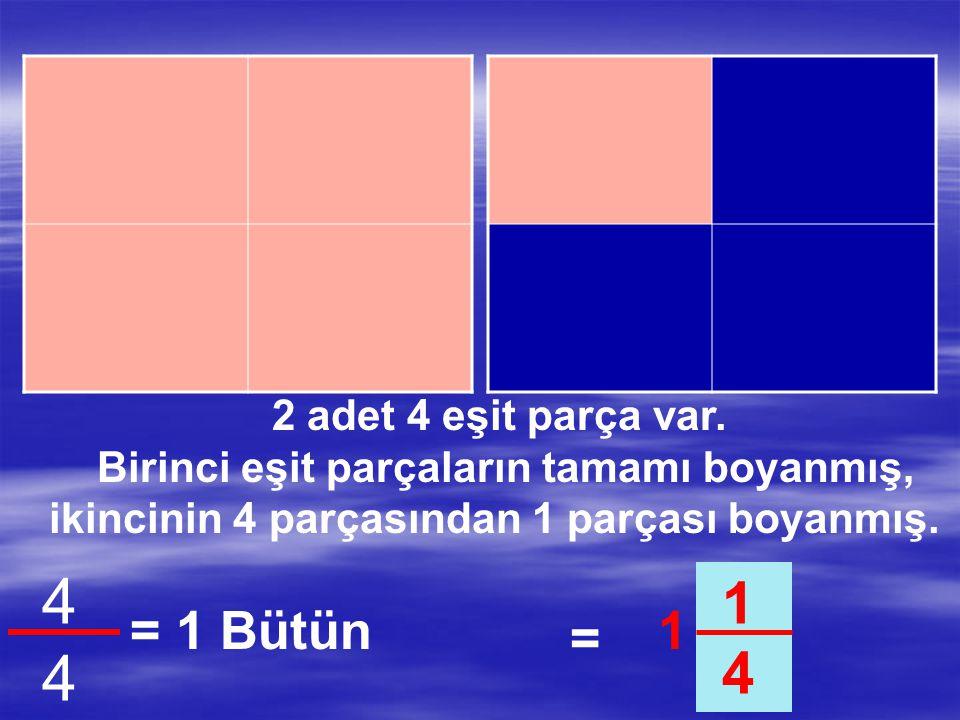 4 1 4 = 1 Bütün 1 = 2 adet 4 eşit parça var.