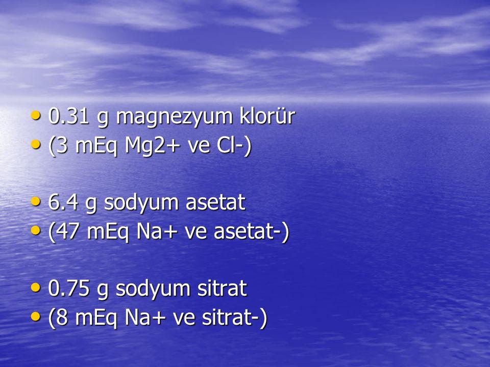 0.31 g magnezyum klorür (3 mEq Mg2+ ve Cl-) 6.4 g sodyum asetat. (47 mEq Na+ ve asetat-) 0.75 g sodyum sitrat.