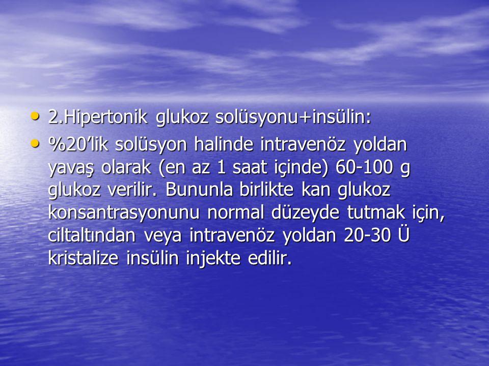 2.Hipertonik glukoz solüsyonu+insülin: