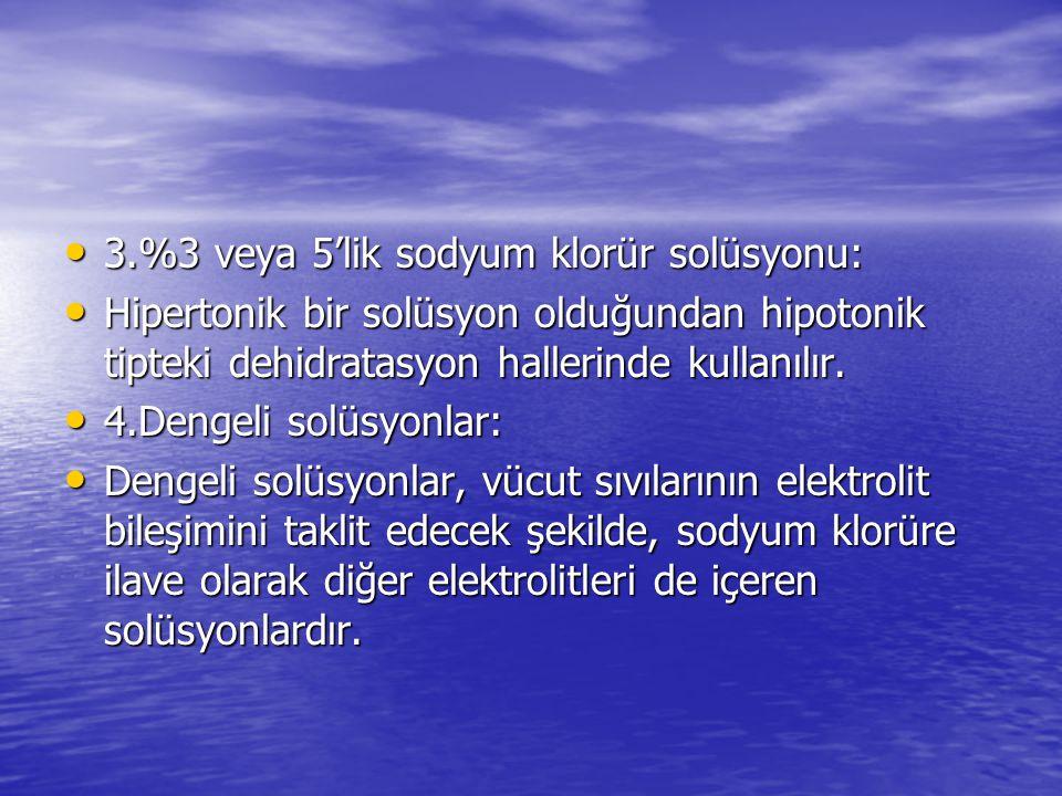 3.%3 veya 5'lik sodyum klorür solüsyonu: