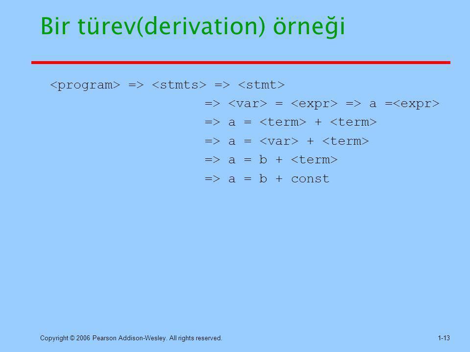 Bir türev(derivation) örneği
