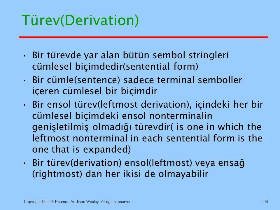 Türev(Derivation) Bir türevde yar alan bütün sembol stringleri cümlesel biçimdedir(sentential form)