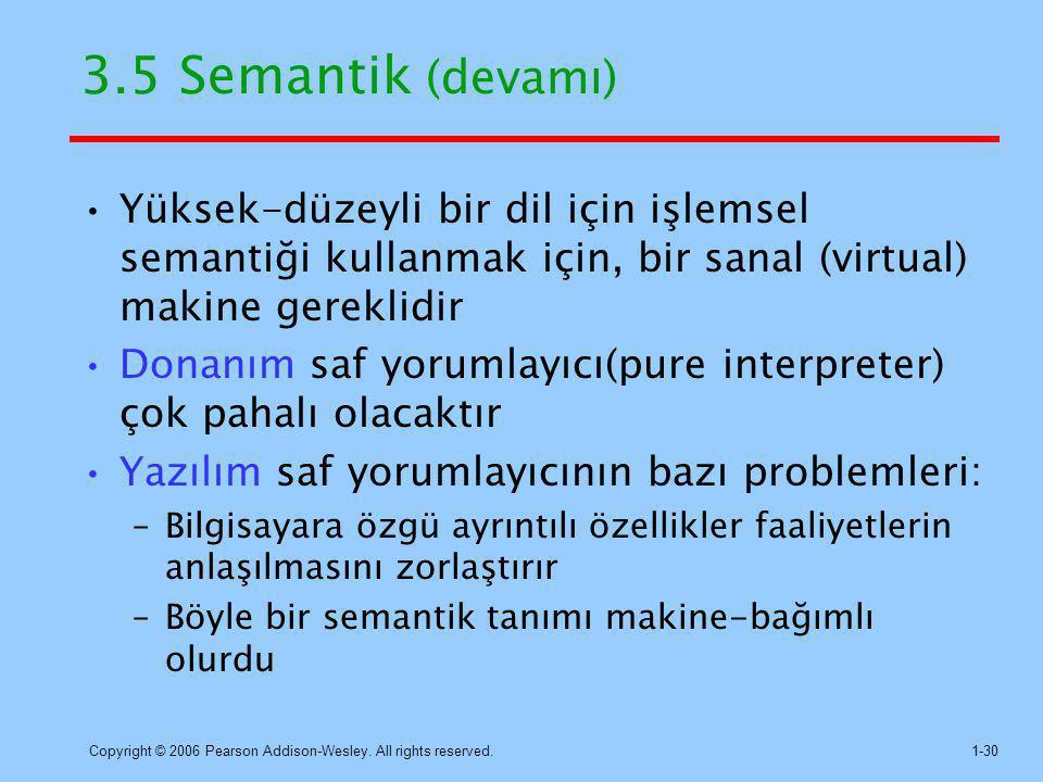 3.5 Semantik (devamı) Yüksek-düzeyli bir dil için işlemsel semantiği kullanmak için, bir sanal (virtual) makine gereklidir.