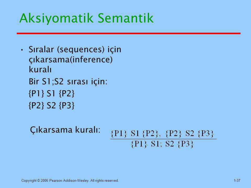 Aksiyomatik Semantik Sıralar (sequences) için çıkarsama(inference) kuralı. Bir S1;S2 sırası için: {P1} S1 {P2}