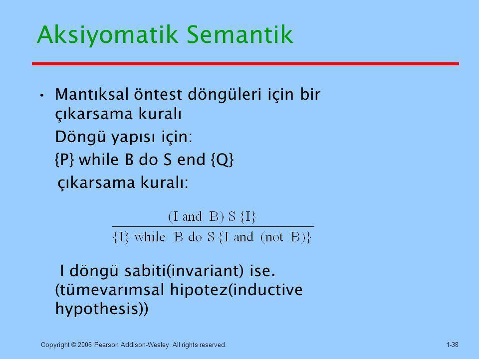 Aksiyomatik Semantik Mantıksal öntest döngüleri için bir çıkarsama kuralı. Döngü yapısı için: {P} while B do S end {Q}
