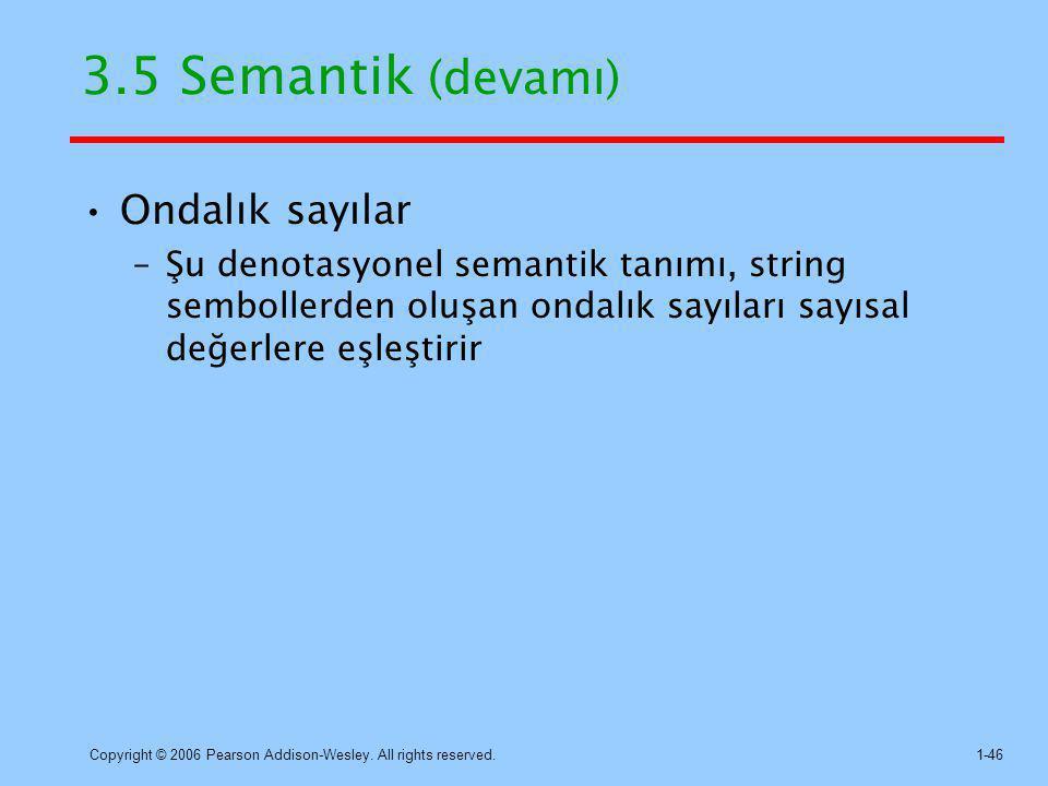 3.5 Semantik (devamı) Ondalık sayılar