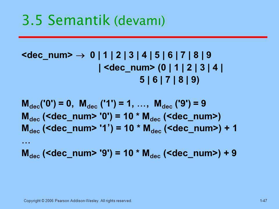 3.5 Semantik (devamı) <dec_num>  0 | 1 | 2 | 3 | 4 | 5 | 6 | 7 | 8 | 9. | <dec_num> (0 | 1 | 2 | 3 | 4 |