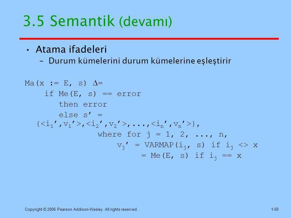 3.5 Semantik (devamı) Atama ifadeleri