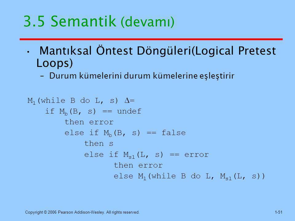 3.5 Semantik (devamı) Mantıksal Öntest Döngüleri(Logical Pretest Loops) Durum kümelerini durum kümelerine eşleştirir.
