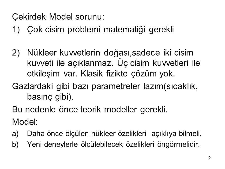 Çekirdek Model sorunu: Çok cisim problemi matematiği gerekli
