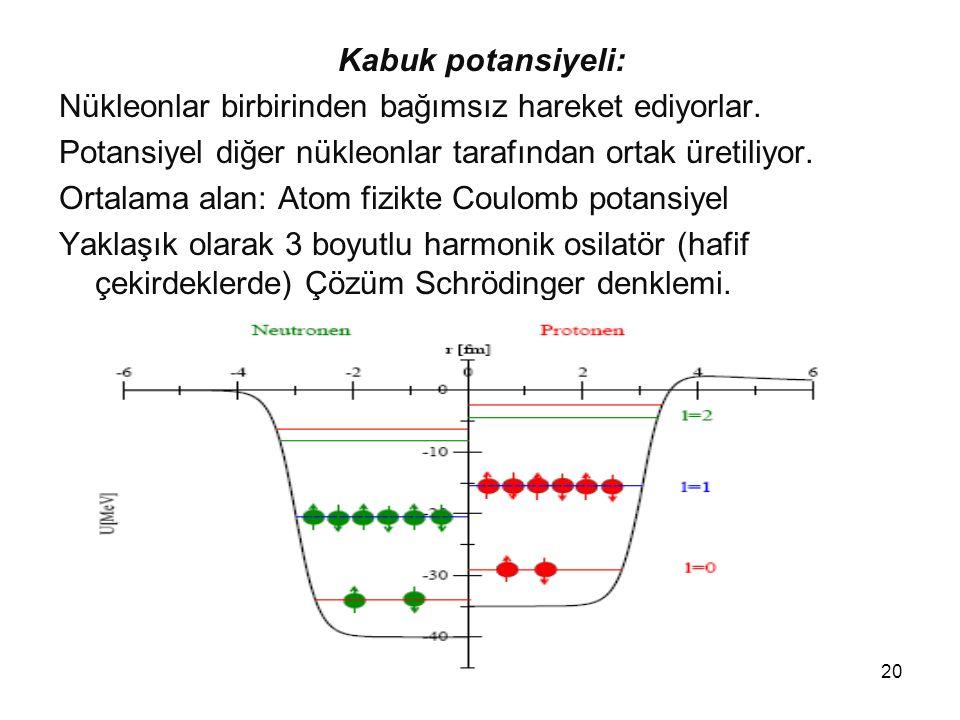 Kabuk potansiyeli: Nükleonlar birbirinden bağımsız hareket ediyorlar. Potansiyel diğer nükleonlar tarafından ortak üretiliyor.