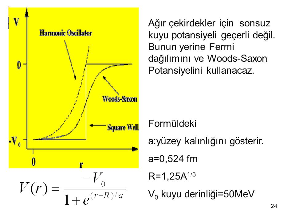 a:yüzey kalınlığını gösterir. a=0,524 fm R=1,25A1/3