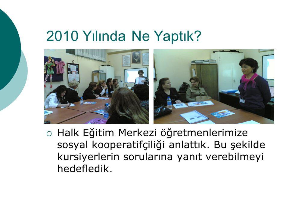 Bu şekilde eğitim aldıktan sonra 2009 yılında kurulmuş bir kooperatifimiz var.