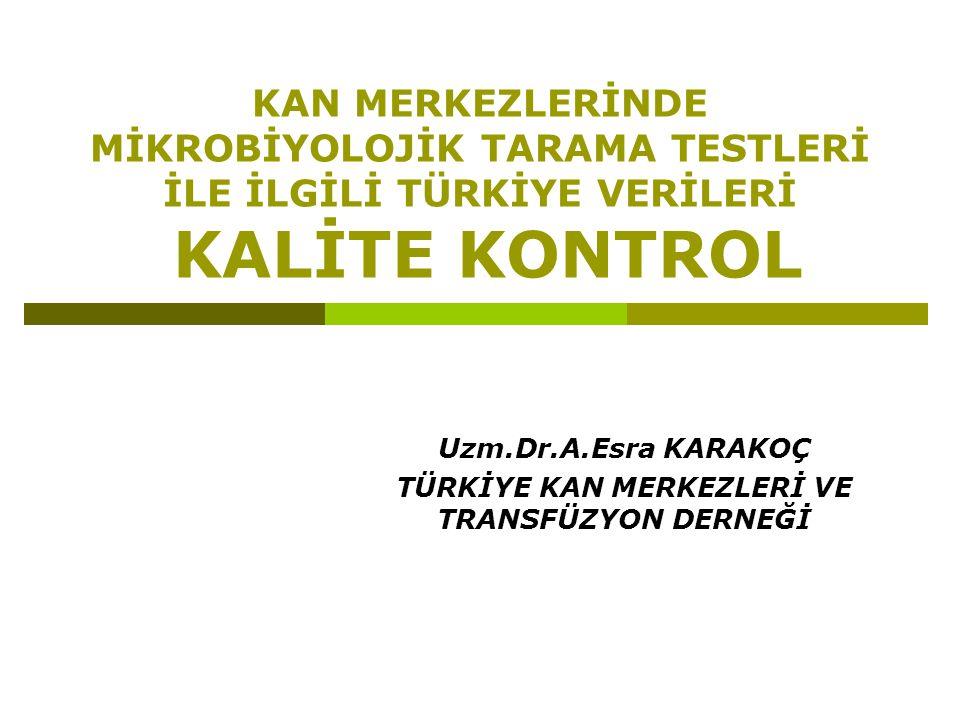 Uzm.Dr.A.Esra KARAKOÇ TÜRKİYE KAN MERKEZLERİ VE TRANSFÜZYON DERNEĞİ