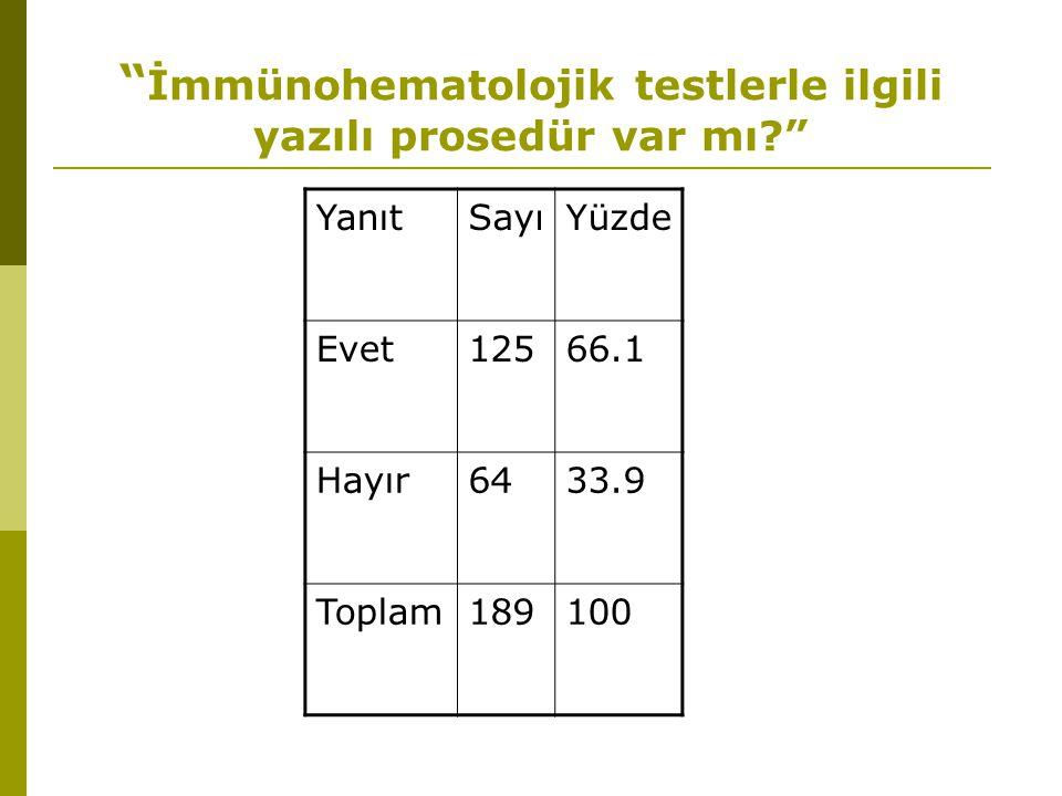 İmmünohematolojik testlerle ilgili yazılı prosedür var mı