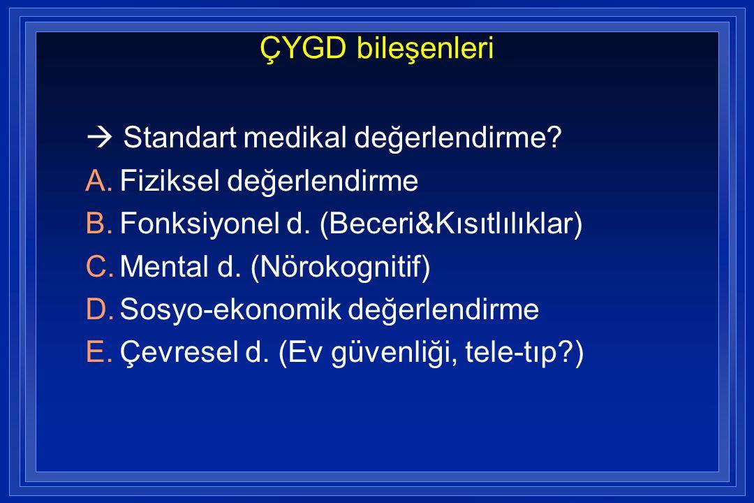 ÇYGD bileşenleri  Standart medikal değerlendirme