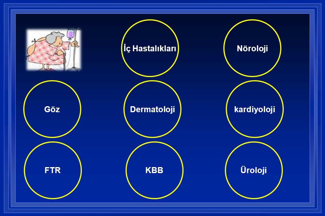İç Hastalıkları Nöroloji Göz Dermatoloji kardiyoloji FTR KBB Üroloji