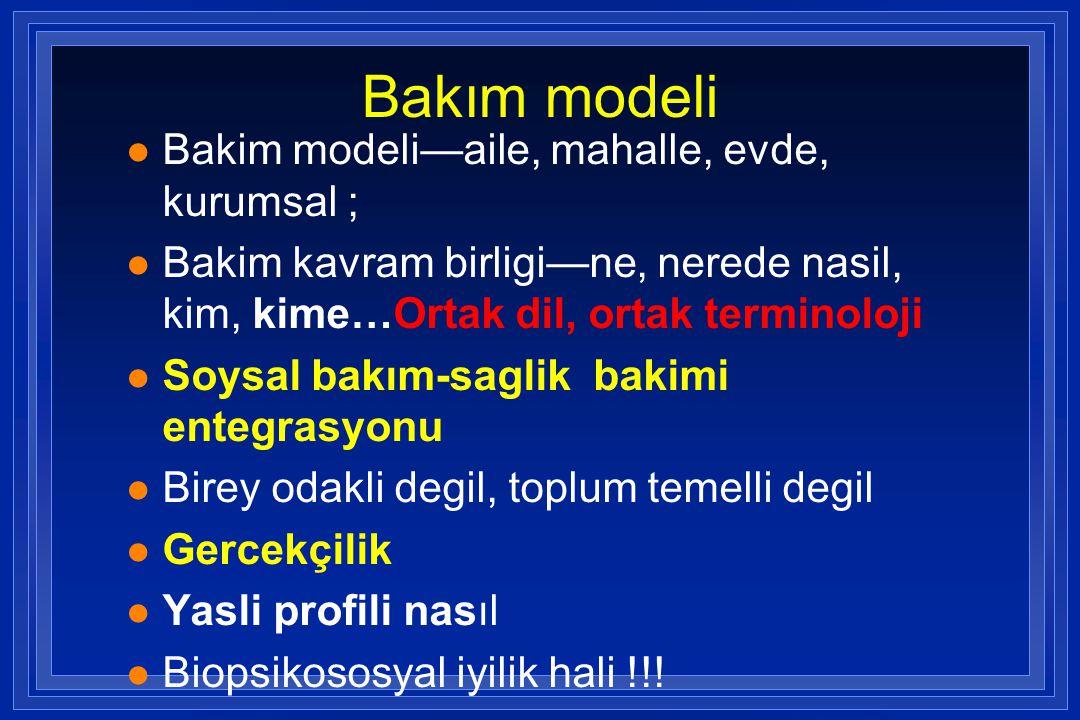 Bakım modeli Bakim modeli—aile, mahalle, evde, kurumsal ;