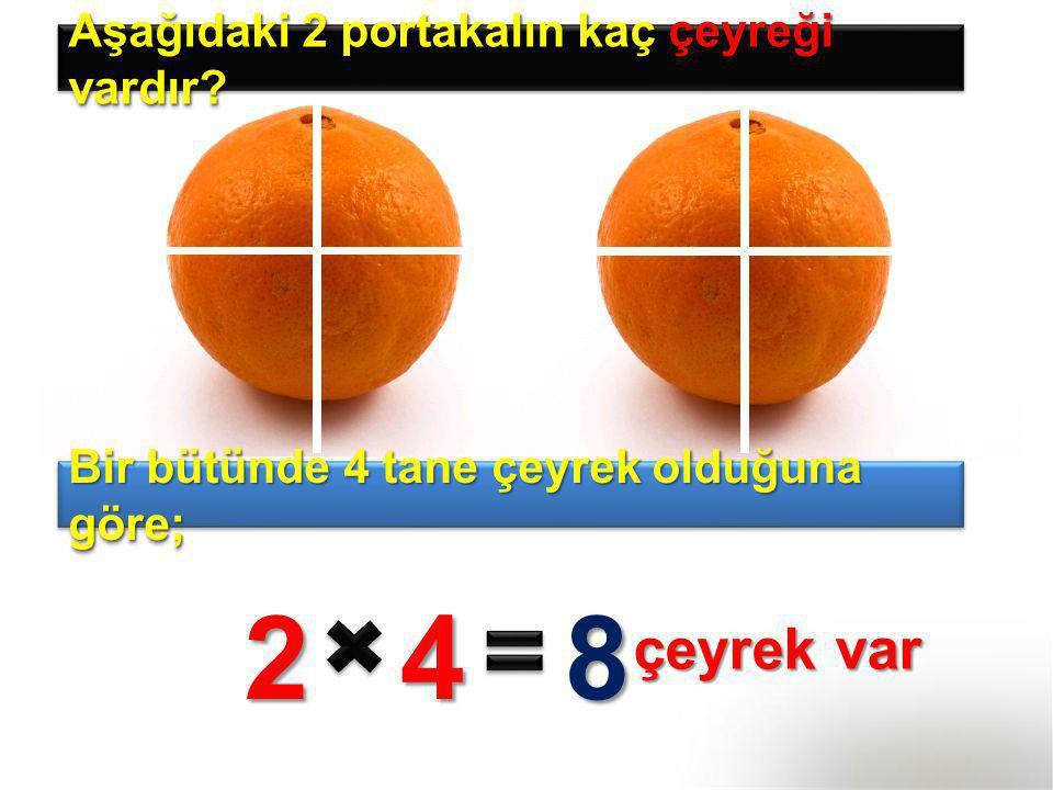 2 4 8 çeyrek var Aşağıdaki 2 portakalın kaç çeyreği vardır