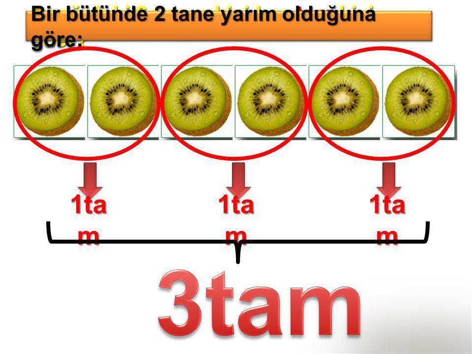 3tam 1tam 1tam 1tam Bir bütünde 2 tane yarım olduğuna göre;