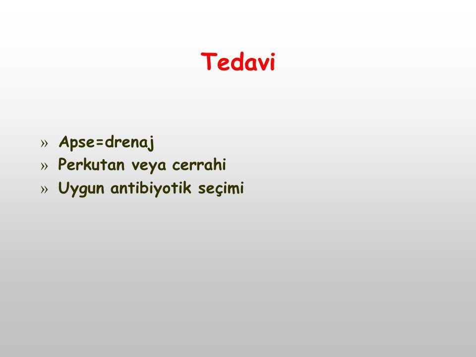 Tedavi Apse=drenaj Perkutan veya cerrahi Uygun antibiyotik seçimi