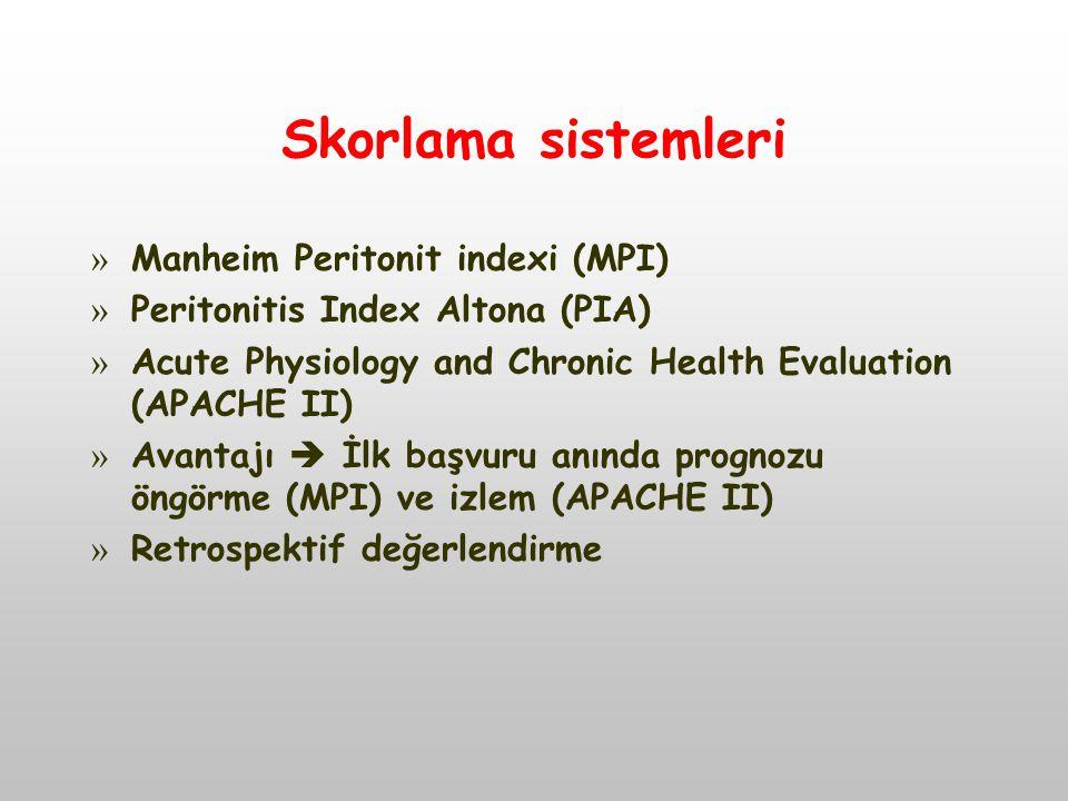 Skorlama sistemleri Manheim Peritonit indexi (MPI)