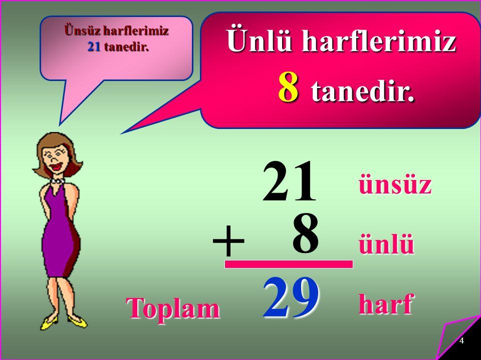 21 8 + 29 8 tanedir. Ünlü harflerimiz ünsüz ünlü harf Toplam
