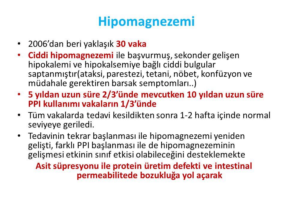 Hipomagnezemi 2006'dan beri yaklaşık 30 vaka
