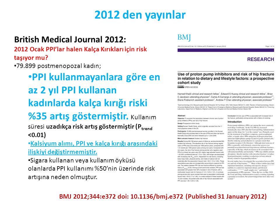 2012 den yayınlar British Medical Journal 2012: 2012 Ocak PPI'lar halen Kalça Kırıkları için risk taşıyor mu