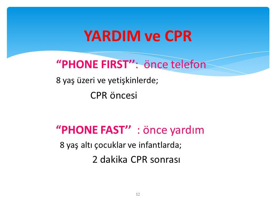 YARDIM ve CPR PHONE FIRST'': önce telefon CPR öncesi