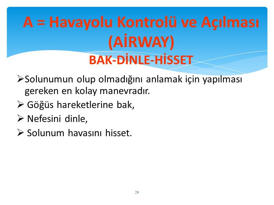 A = Havayolu Kontrolü ve Açılması (AİRWAY)