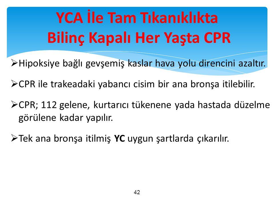 YCA İle Tam Tıkanıklıkta Bilinç Kapalı Her Yaşta CPR