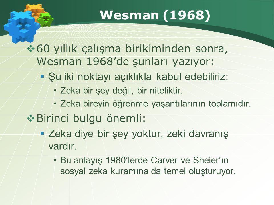 Wesman (1968) 60 yıllık çalışma birikiminden sonra, Wesman 1968'de şunları yazıyor: Şu iki noktayı açıklıkla kabul edebiliriz:
