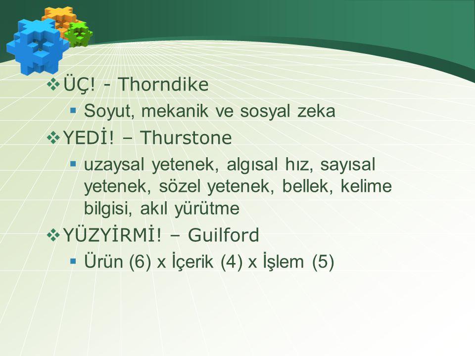 ÜÇ! - Thorndike Soyut, mekanik ve sosyal zeka. YEDİ! – Thurstone.