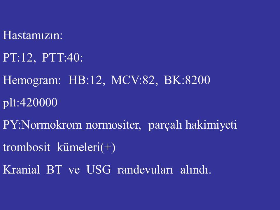 Hastamızın: PT:12, PTT:40: Hemogram: HB:12, MCV:82, BK:8200. plt:420000. PY:Normokrom normositer, parçalı hakimiyeti.