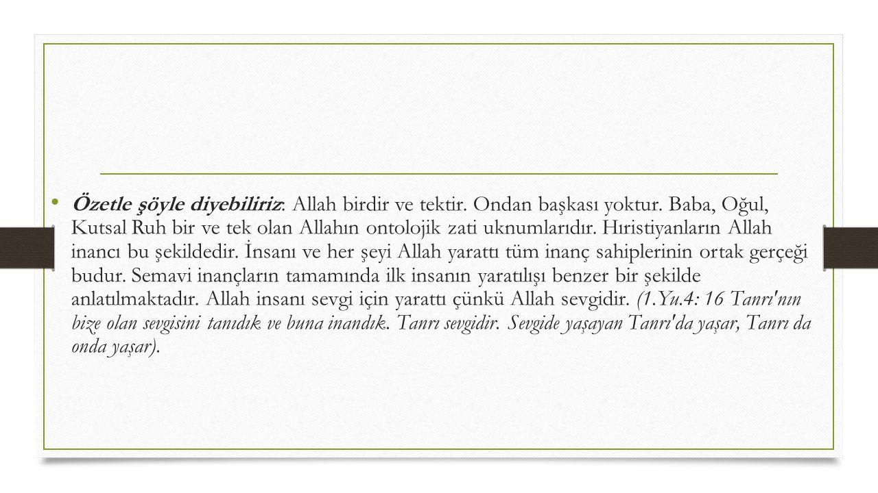 Özetle şöyle diyebiliriz: Allah birdir ve tektir. Ondan başkası yoktur