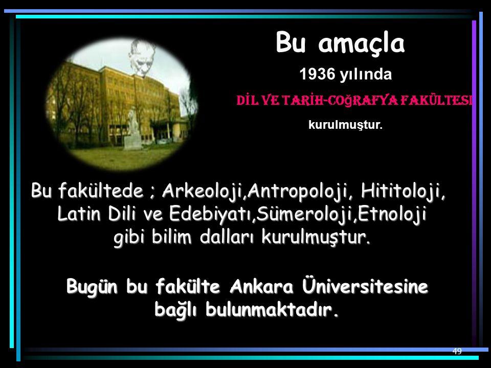 Bugün bu fakülte Ankara Üniversitesine