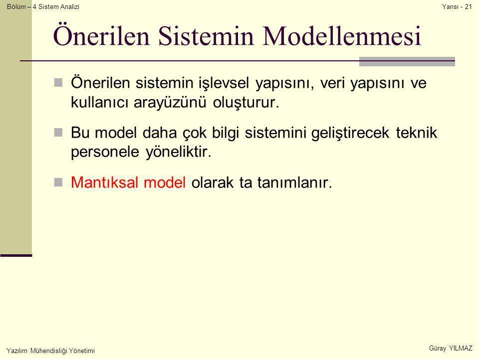 Önerilen Sistemin Modellenmesi