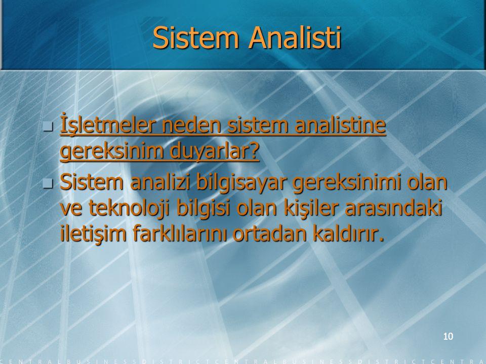 Sistem Analisti İşletmeler neden sistem analistine gereksinim duyarlar