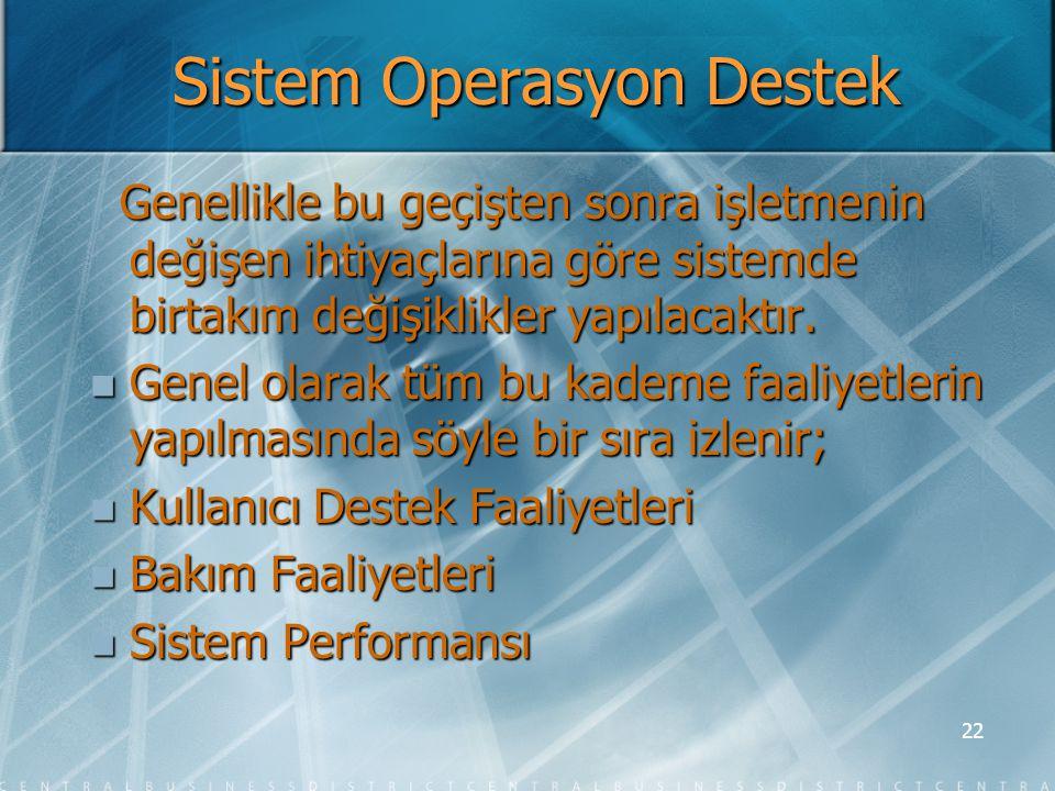 Sistem Operasyon Destek