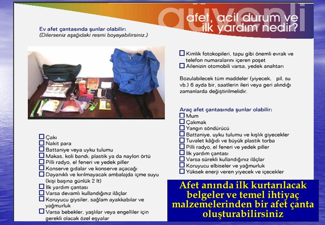 Afet anında ilk kurtarılacak belgeler ve temel ihtiyaç malzemelerinden bir afet çanta oluşturabilirsiniz